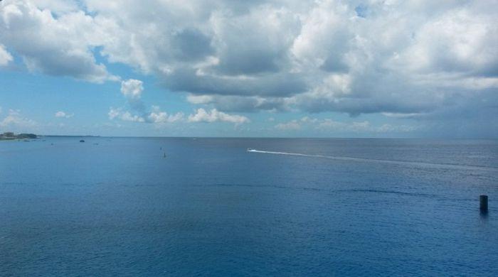 Maravillosa vista desde el crucero anclado en la isla de Cozumel
